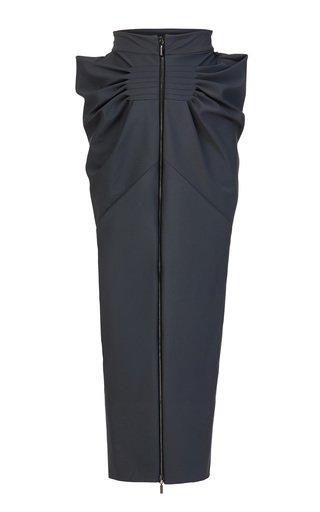 Certitude Pleated Cotton Maxi Skirt