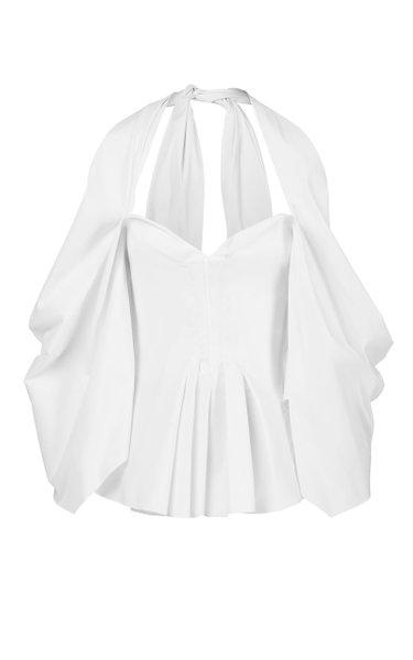Thallium Draped Linen-Cotton Bustier Top
