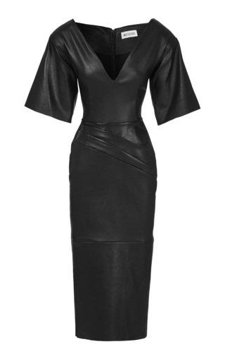 Leaded Leather Midi Dress