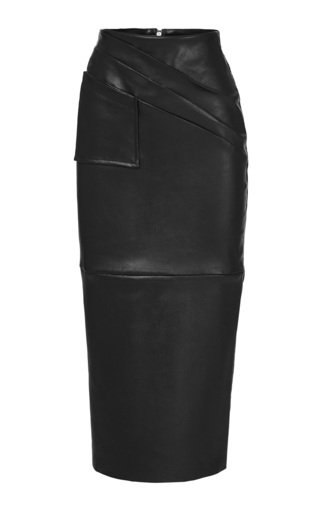 Gracious Leather Midi Pencil Skirt