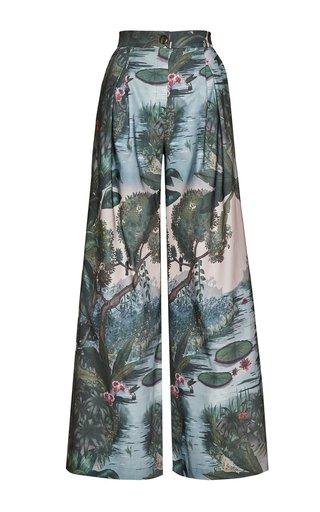 Paisajes Printed Wide-Leg Cotton Pants