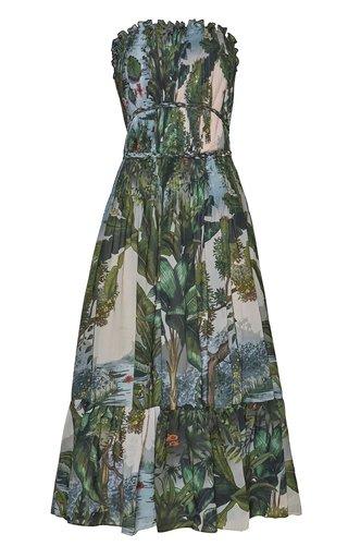 Ceiba Pleated Printed Chiffon Midi Dress