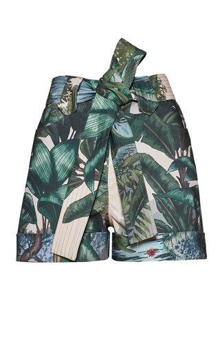 Titi Belted Printed Cotton Shorts
