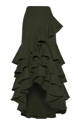 Umariacu Ruffled Linen Maxi Skirt