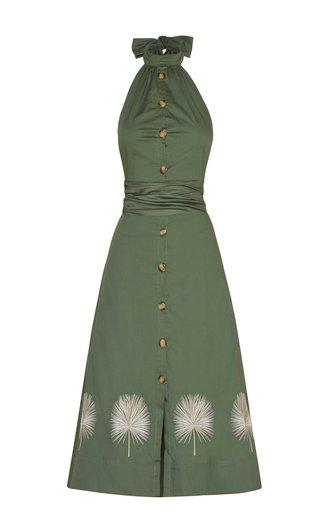 Palmeras Embroidered Cotton Midi Dress