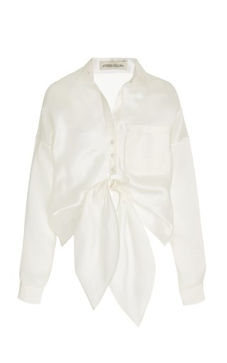 Macedonia Oversized Tie-Front Silk Shirt