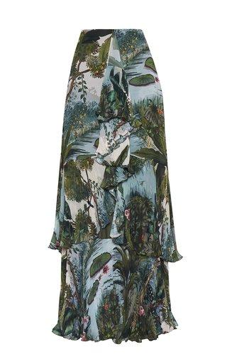Selva Printed Ruffled Chiffon Maxi Skirt