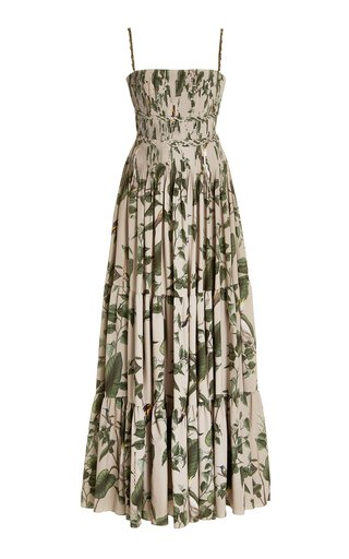Mocagua Pleated Printed Crepe Maxi Dress