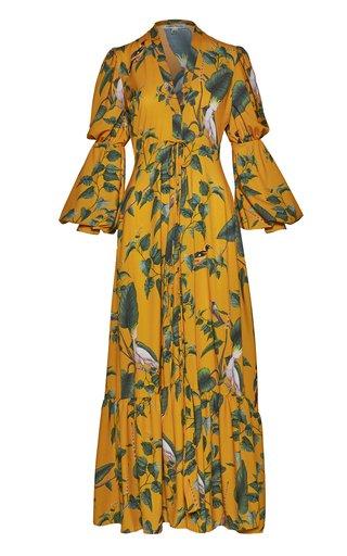 Cienaga Printed Chiffon Maxi Dress And Kimono