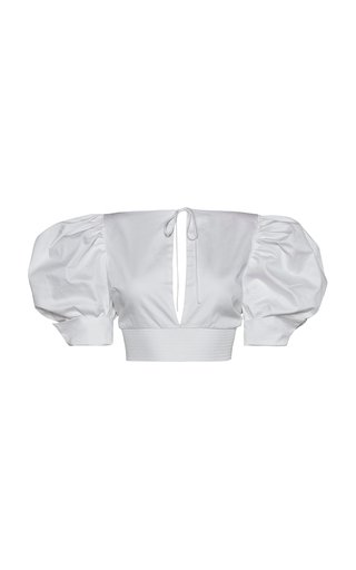 Uacari Puff Sleeve Cotton Poplin Blouse