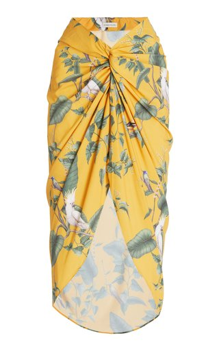 Loto Printed Crepe Pareo Skirt