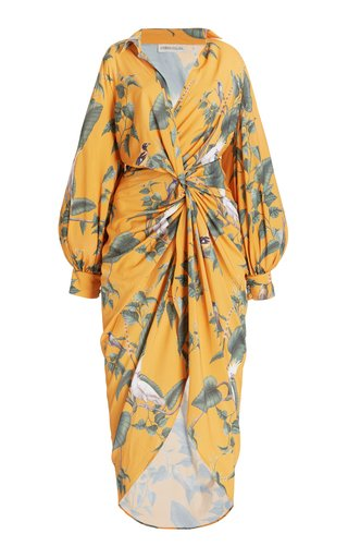 Sago Printed Crepe Midi Shirt Dress