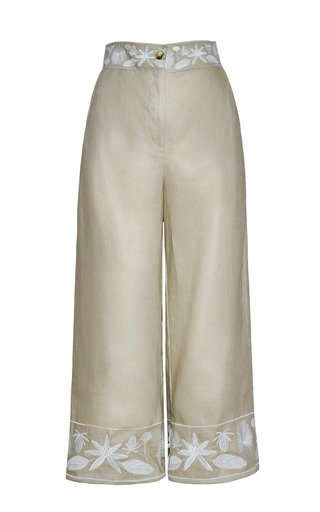 Cacao Embroidered Linen Pants
