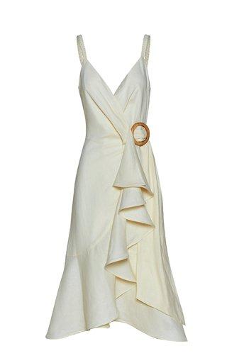 Ticuna Belted Ruffled Linen Dress