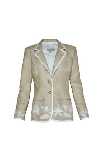 Caoba Embroidered Linen Blazer