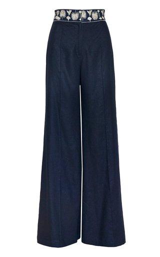 Orellana Embroidered Wide-Leg Linen Pants