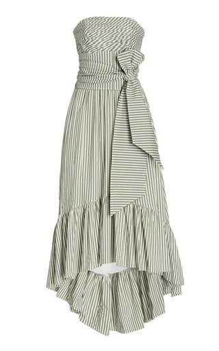 Caiman Belted Striped Cotton Strapless Maxi Dress