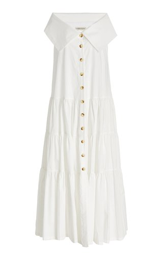 Totora Tiered Cotton Off-The-Shoulder Maxi Dress