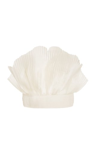 Gingko Pleated Silk Strapless Crop Top