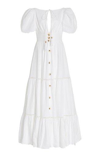 Canoa Button-Front Tiered Linen Maxi Dress