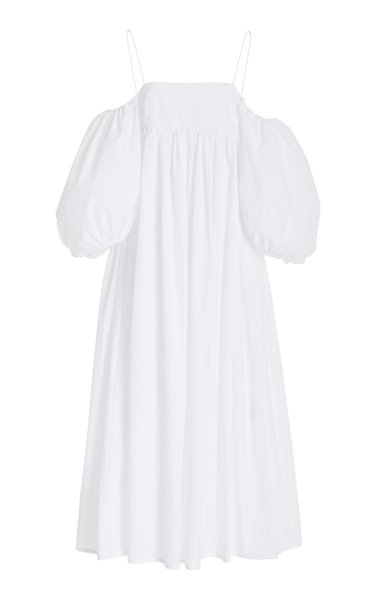 Holly Puff-Sleeve Cotton Off-The-Shoulder Maxi Dress