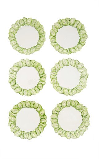 Rose Leaf, Set-of-Six Ceramic Dessert Plates