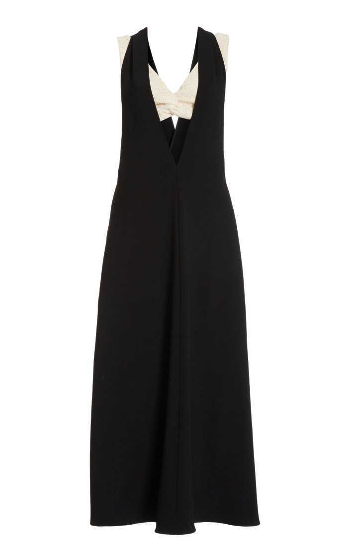 Layered V-Neck Suiting Dress