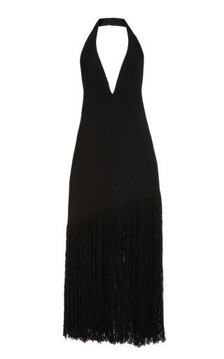 Fringe-Detail Knitted Cotton-Blend Dress