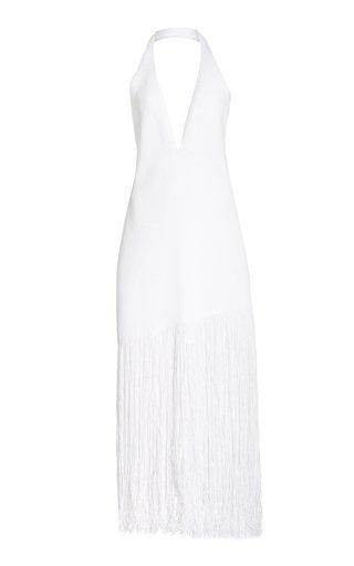 Fringed Cotton-Blend Knit Dress