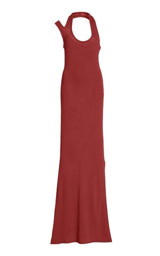 Side Slit Halter Crepe Jersey Dress