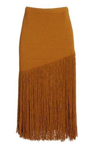 Fringed Cotton-Blend Knit Skirt