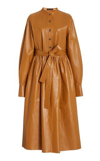 Pintucked Leather Dress