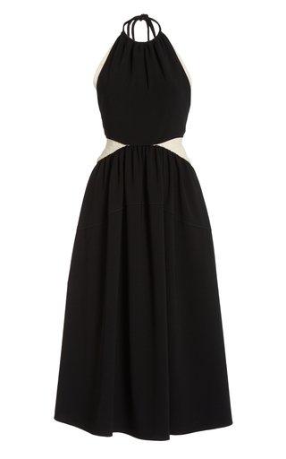 Color-Blocked Matte Crepe Dress