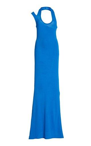Asymmetric Halter Crepe Jersey Dress