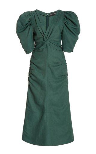 Shirred-Sleeve Satin Dress