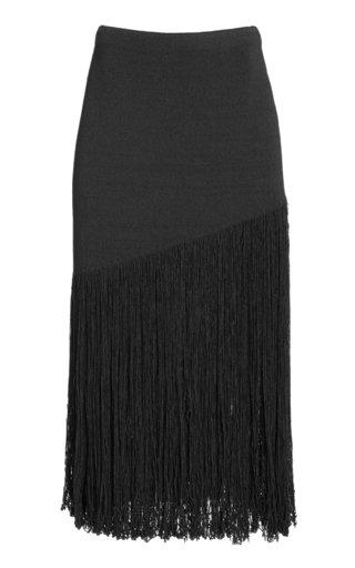 Knitted Fringe-Detail Cotton-Blend Skirt