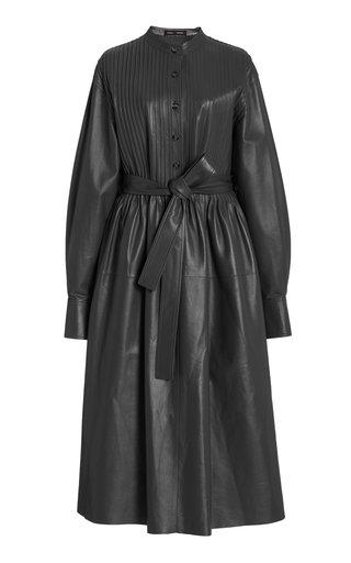 Pintuck-Pleat Leather Dress