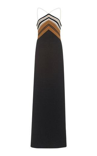 Crochet-Trimmed Silk-Blend Maxi Dress