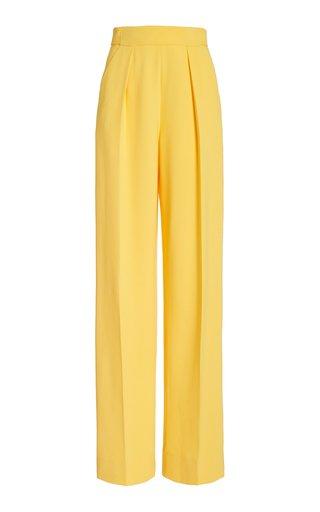 Wide-Leg Single-Pleat Matte Crepe Pants