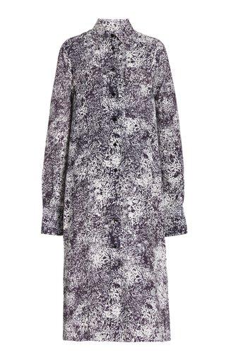 Collared Printed Crepe Shirt Dress