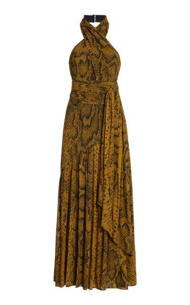 Snake-Printed Cross-Front Crepe De Chine Dress
