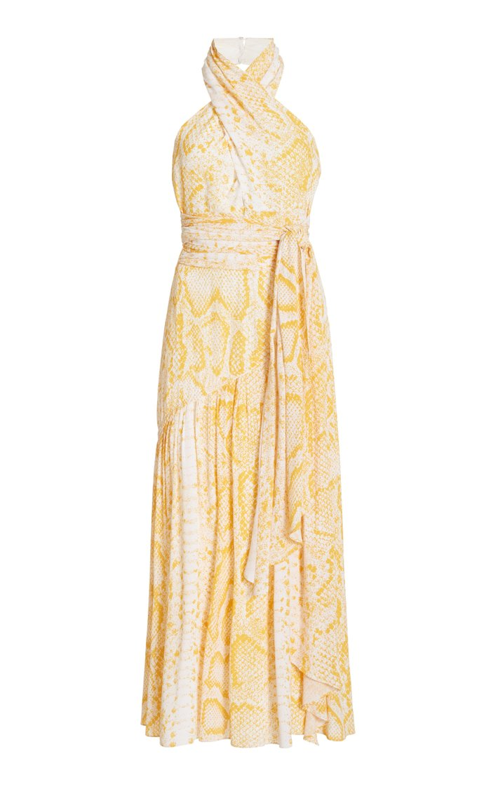 Snake Print Pleated Crepe De Chine Dress