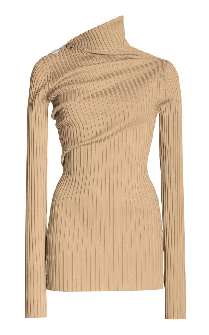 Ribbed Twist-Detail Knit Top