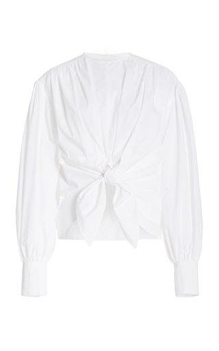 Tie-Detail Cotton Poplin Top