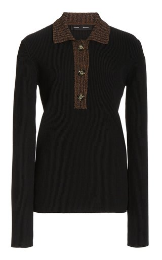 Collared Ribbed-Knit Top