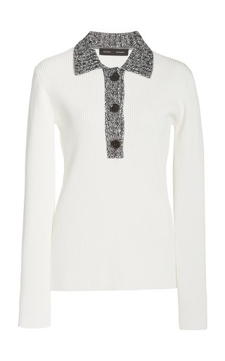 Polo Ribbed-Knit Top