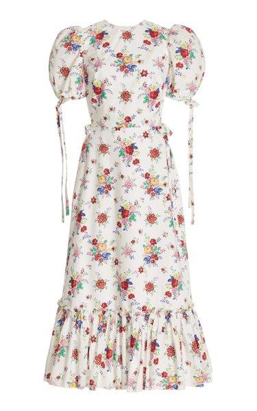 Exclusive The Honey Trap Floral-Print Cotton Midi Dress