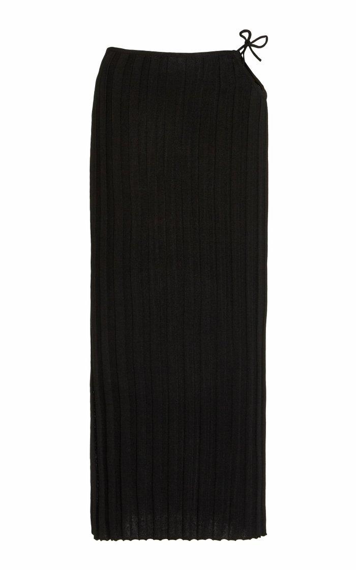 Emerald Cutout Ribbed-Knit Skirt
