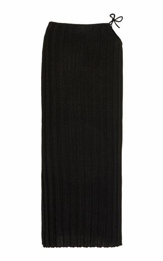 Emerald Cutout Ribbed-Knit Midi Skirt