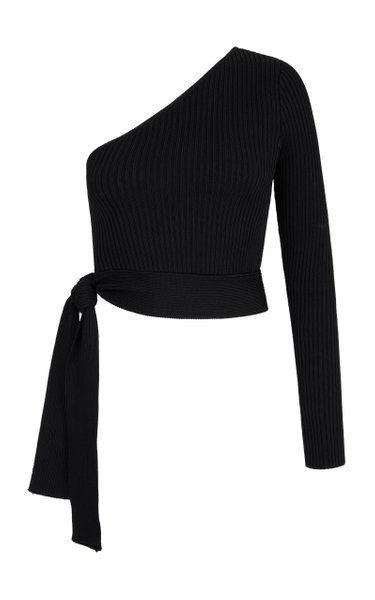 Zircon Asymmetric Ribbed-Knit Top